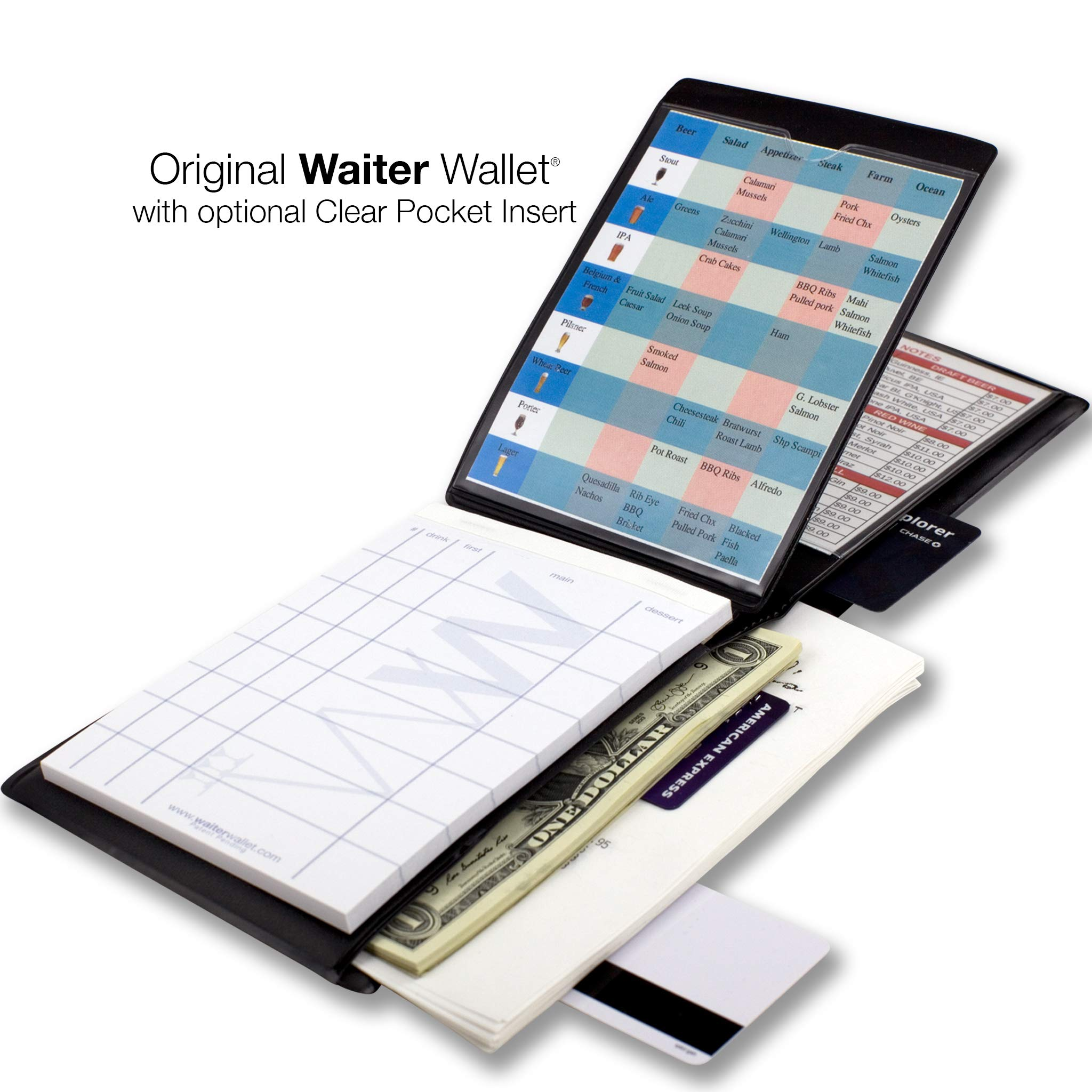 Waiter Wallet | Server Book For Waiters & Waitresses | Fits Waitstaff Apron| Premium Server Pad Included | Spill Resistant Design Perfectly Sized To Organize Everything Servers Are Challenged To Carry