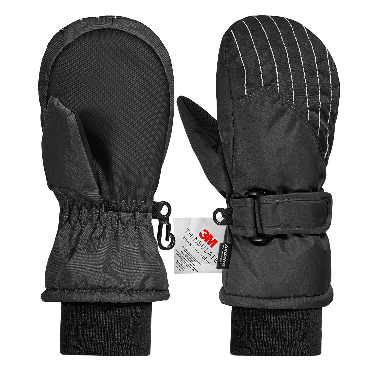 Andake Kids Mittens, Snowproof 3M Thinsulate Insulated Girls/Boys Winter Mittens, Gloves with Non-Slip PU Palms, Idea for Winter Sports, Black, 5-7y