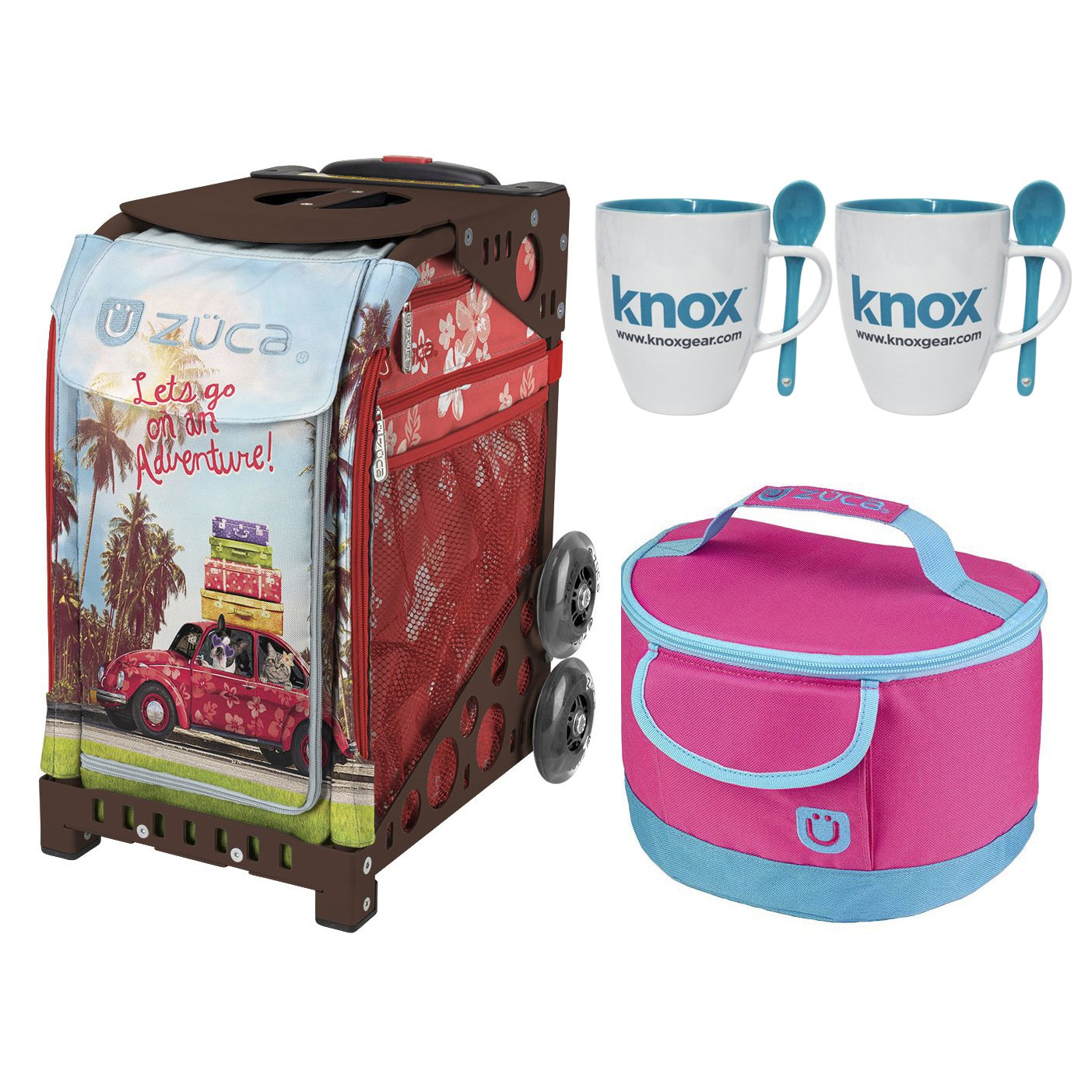 Zuca Road Trip Sport Insert Bag with Zuca Frame, Matching Lunch box and 2 Coffee Mugs(Dark Brown Frame)