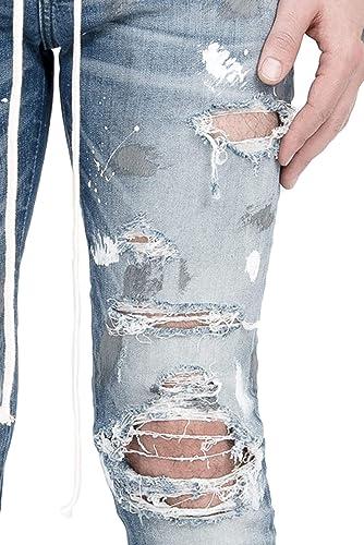0430a9ede6f4 Blaue stark bemalte stretch distressed Jeans im skinny Look für Herren (28)   Amazon.de  Bekleidung