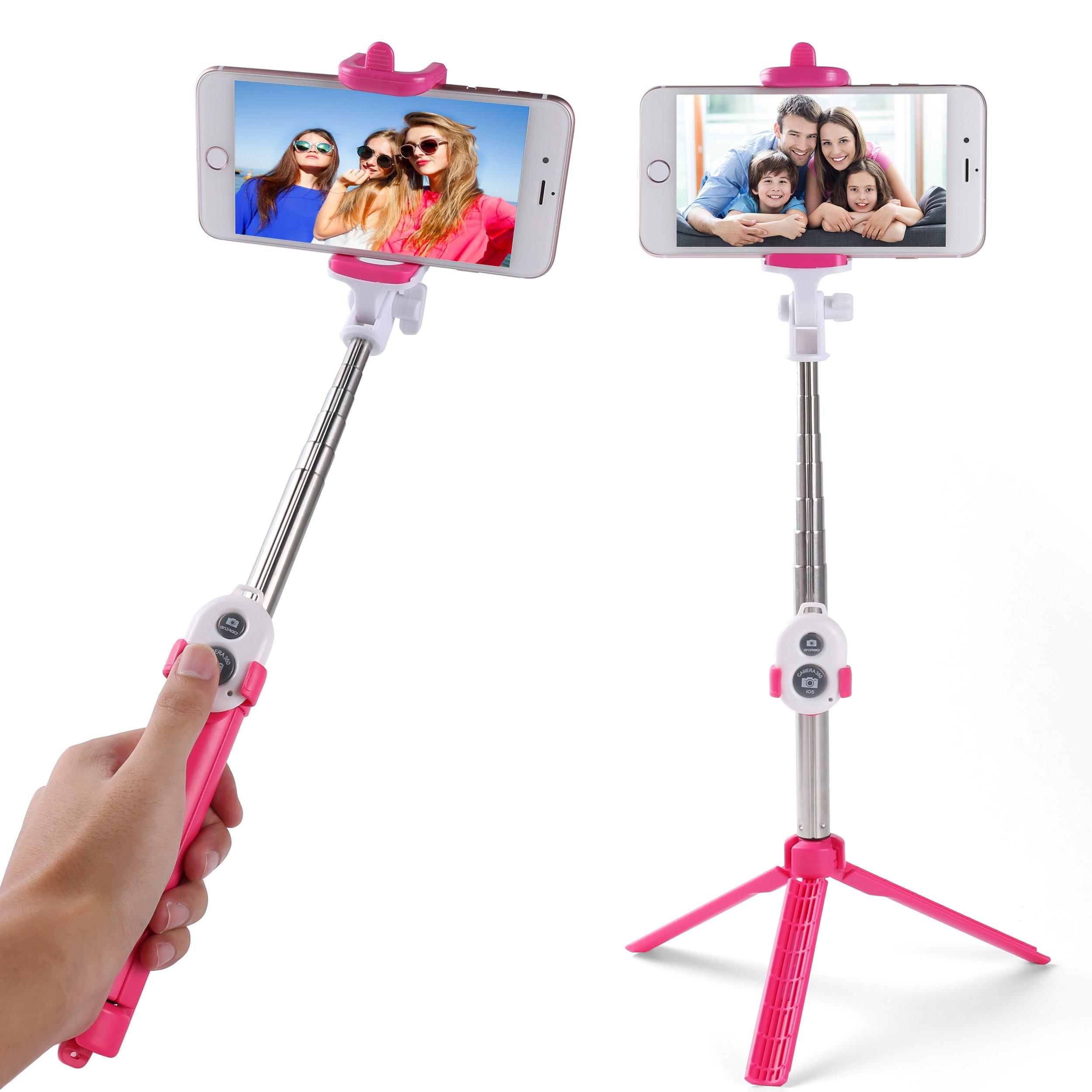 For Google Pixel/Pixel XL Selfie Stick, Extendable Tripod with Built-In Stand Kickstand + Bluetooth Remote Shutter Button (Hot Pink)