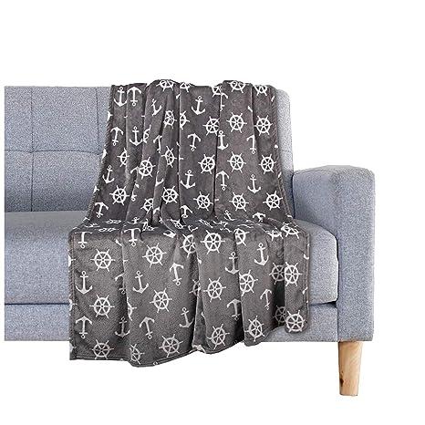 Delindo Lifestyle® Mantas para sofas NAUTIC / gris / microfibra / Manta de forro polar / 150x200 cm