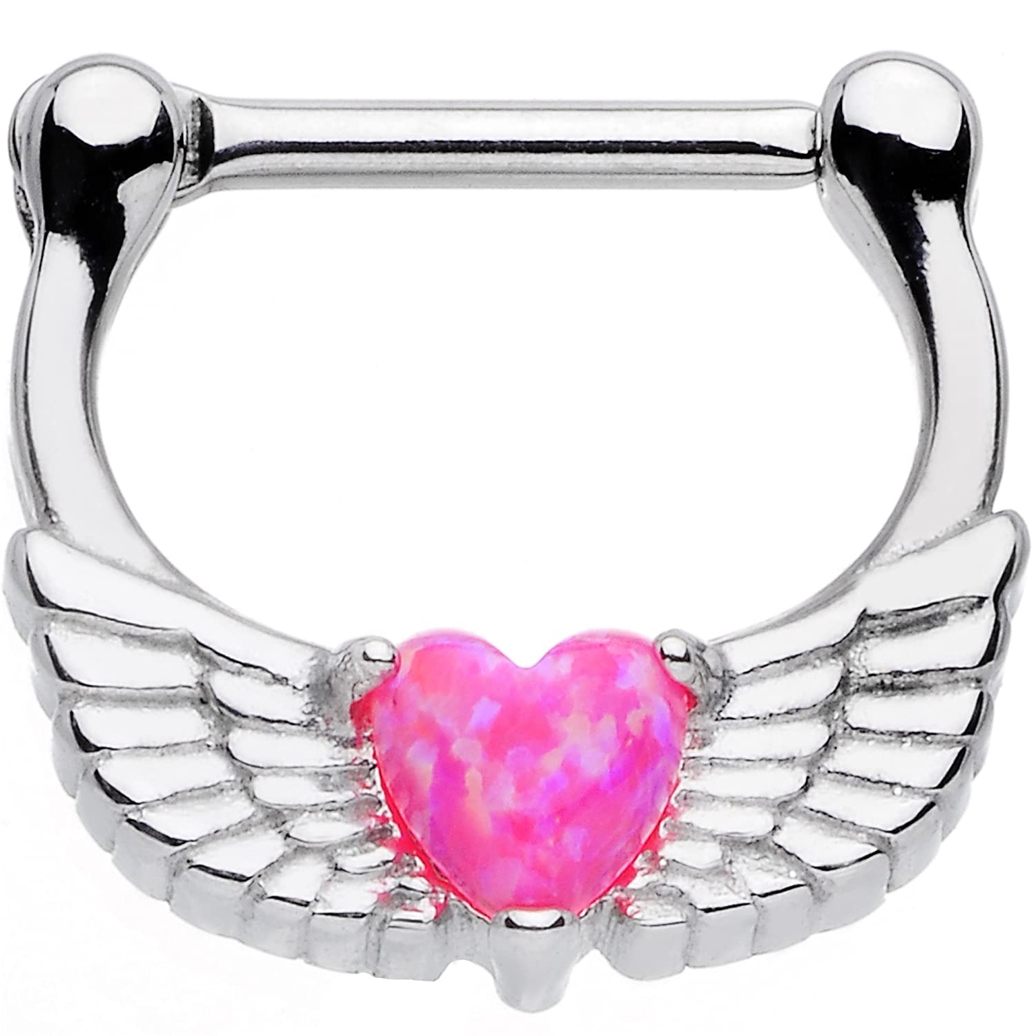 Body Candy Stainless Steel Iridescent Dark Pink Heart Angel Wing Septum Clicker 16 Gauge 5/16 57956