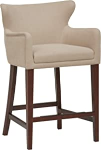 Amazon Brand – Stone & Beam Wickstrom Upholstered Counter-Height Bar Stool with Arms, 37