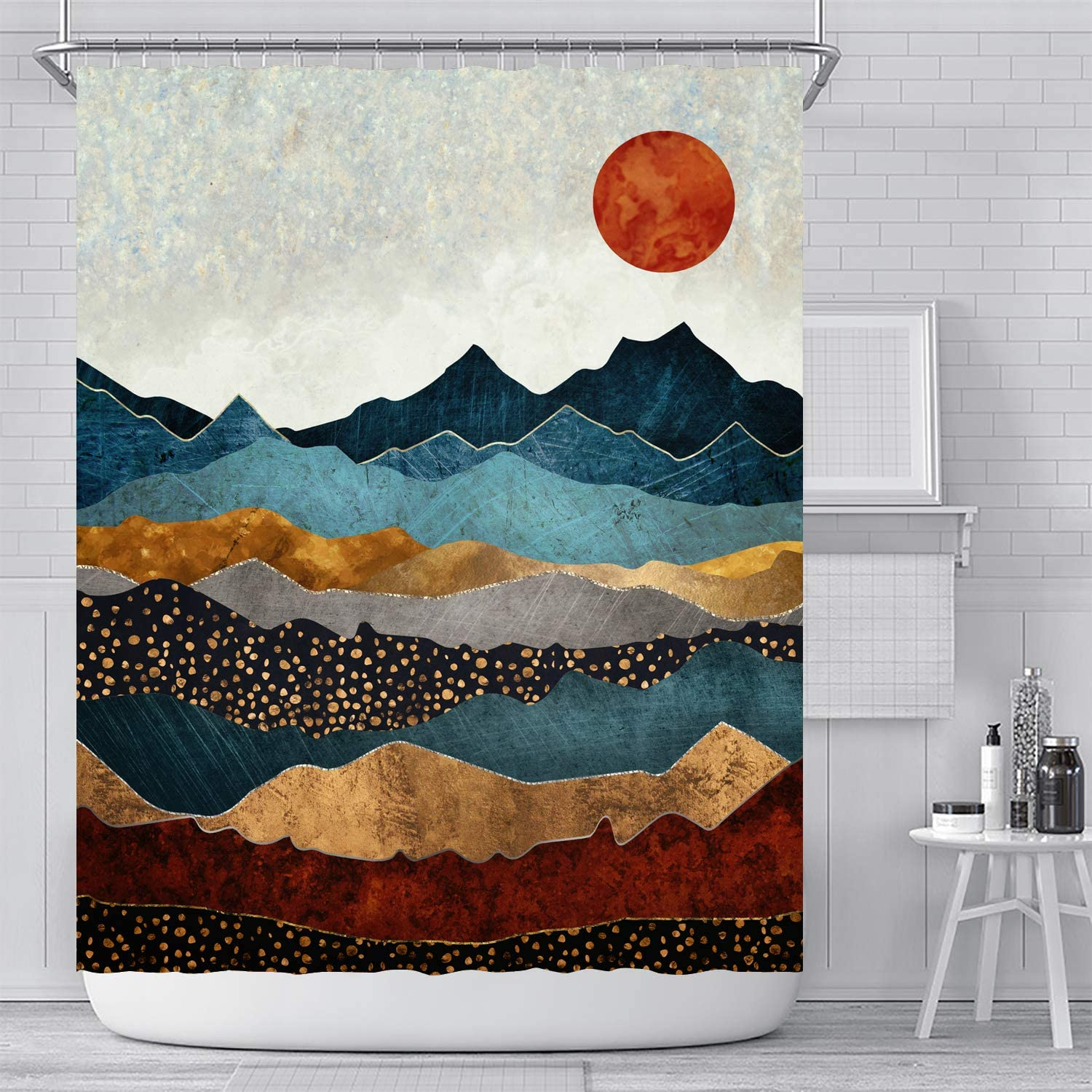 Ujoyen Mountain Shower Curtain Sunset Sunrise Nature Landscape Bathroom Curtain Colorful Abstract Art Painting Bathroom Decor with Hooks Waterproof Washable 72 x 72 inches- red Black Blue