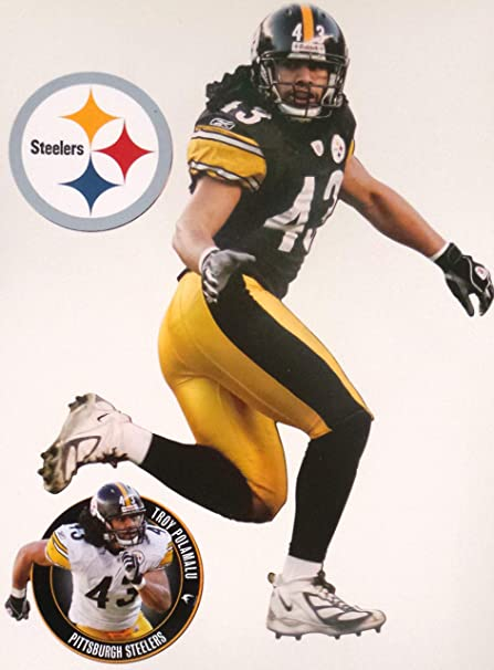 b4e8cb68847 Image Unavailable. Image not available for. Color  FATHEAD Troy Polamalu  Mini Pittsburgh Steelers Official NFL Vinyl Wall ...