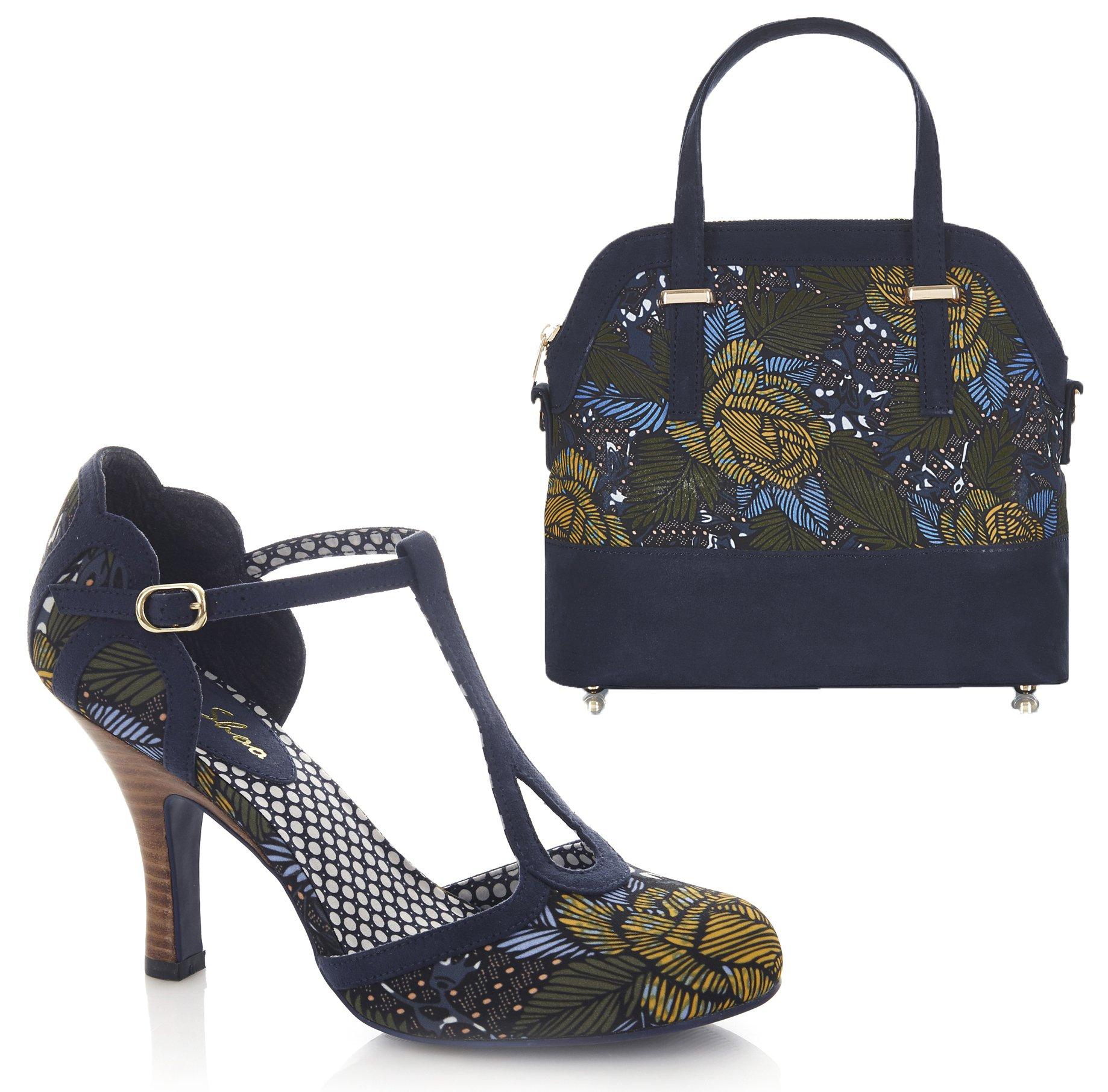 Ruby Shoo Women's Jungle Print Polly Mary Jane Pumps & Matching Lima Bag UK 6 EU 39