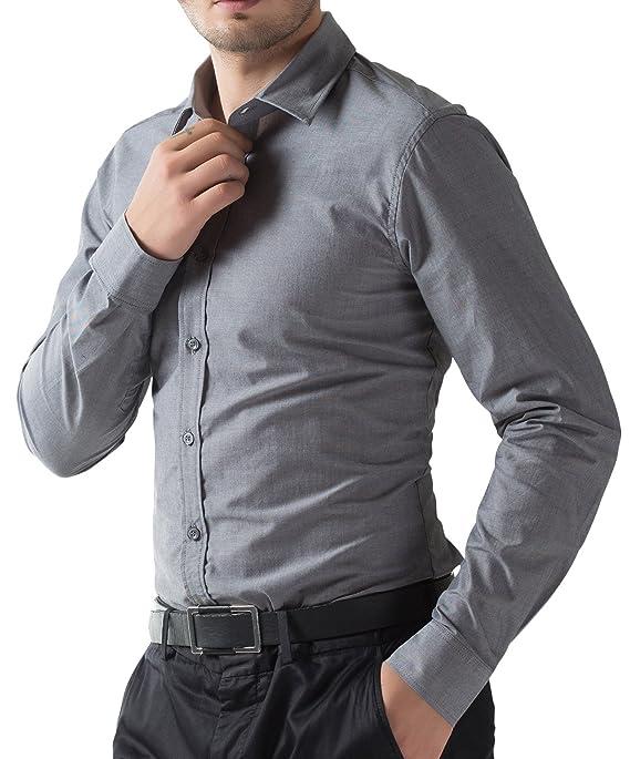 Basic Dark Grey Mens Semi Casual Shirts for Lover PJ5252-2 S: Amazon.co.uk: Clothing