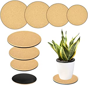 8 Pack Cork Plant Mat Round Plant Coaster Mat- Absorbent DIY Cork Pad Plant Plate Pad for Indoor and Outdoor Pots, Garden, Courtyard, DIY Craft Project(2 of Each Size- 4 Inch, 6 Inch, 8 Inch, 10 Inch)