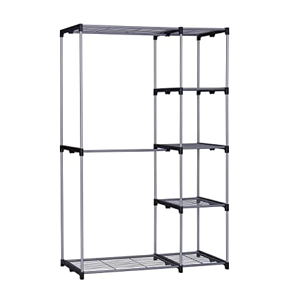 Incroyable Homebi Freestanding Closet Organizer Double Rod Garment Rack Metal Wire Shelving  Unit Clothing Organizer With Double