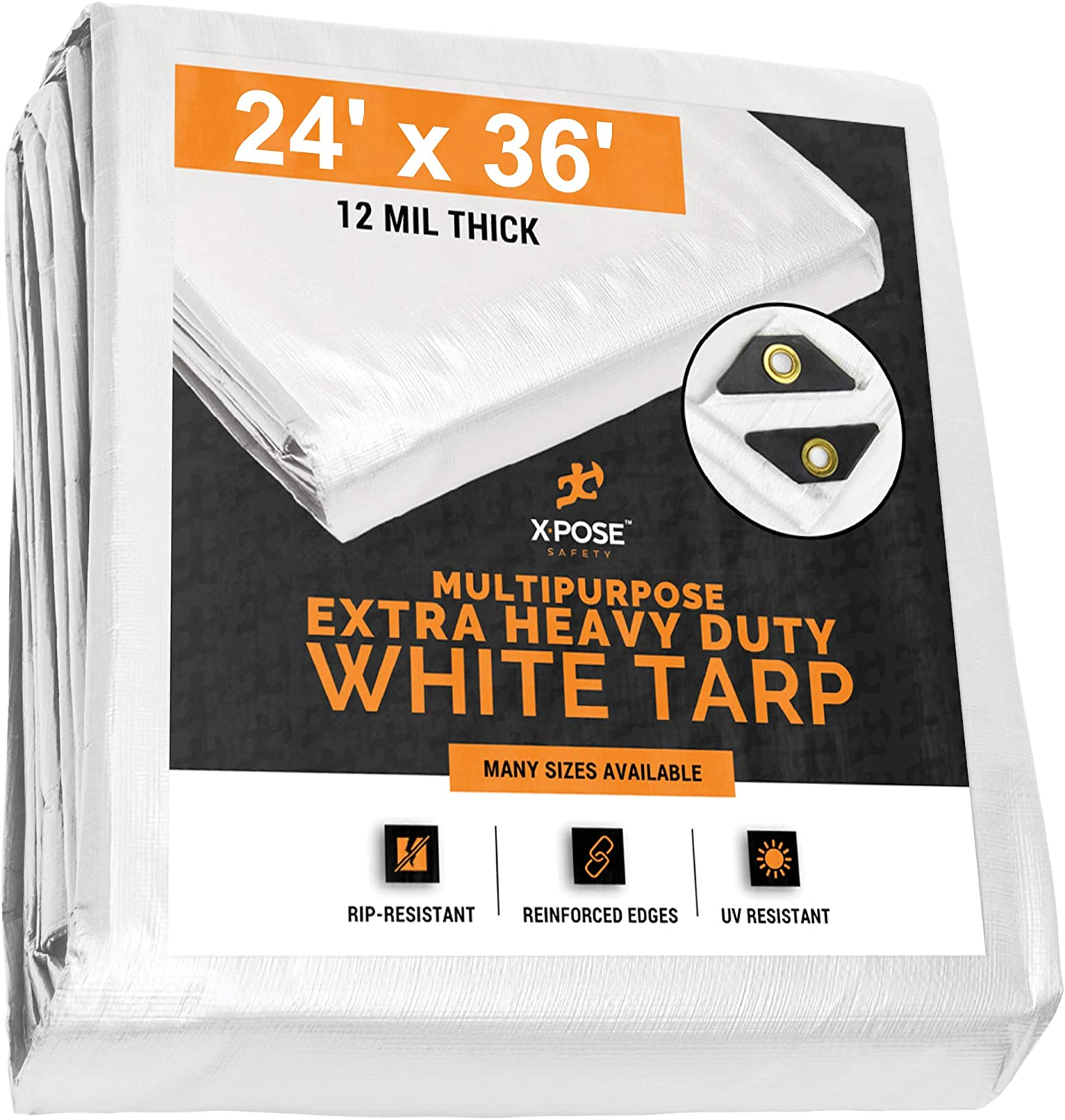 Heavy Duty White Poly Tarp 24' x 36' Multipurpose Protective Cover - Durable, Waterproof, Weather Proof, Rip and Tear Resistant - Extra Thick 12 Mil Polyethylene - by Xpose Safety