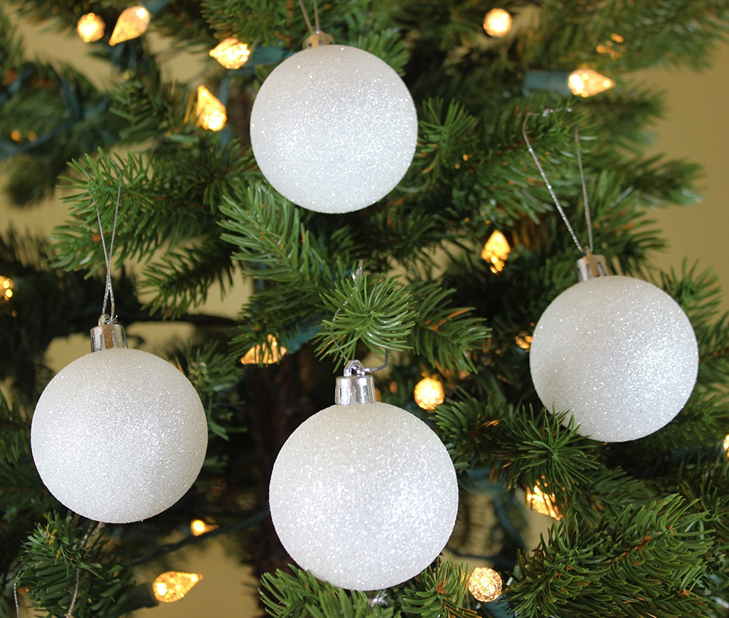 Sleetly Christmas Ball Ornaments, White Snowball, 2.36 inch, Set of 18