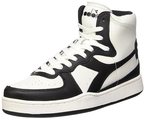 Diadora Mi Basket Sneaker alte Unisex adulto Multicolore C0351 Bianco/Nero