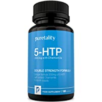 5-HTP 200mg, 180 Capsules (6 Month Supply)  - Double Strength 5 HTP with Added  Chamomile by Puretality