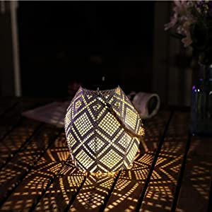HDNICEZM Solar Lantern Outdoor Hanging - Garden Solar Metal Lights Waterproof Warm White Lanterns Decorative Table lamp with Handle for Garden ,Patio, Hallway, Auto Turn-on/Off,8-10h Working Time
