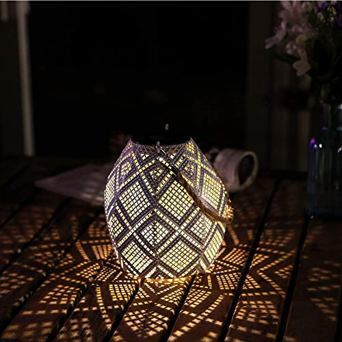 HDNICEZM Solar Lantern Outdoor Hanging – Garden Solar Metal Lights Waterproof Warm White Lanterns Decorative Table lamp with Handle for Garden,Patio, Hallway, Auto Turn-on Off,8-10h Working Time