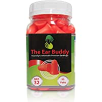 The Ear Buddy Premium Soft Foam Ear Plugs, Best Noise Cancelling Earplugs For Sleeping, Hearing Protection For Concerts, Work, Shooting & Travel, Noise Reduction Rating 32 Decibels, 50 Pairs