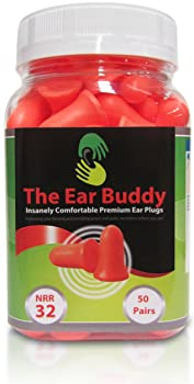 The Ear Buddy Premium Soft Foam Ear Plugs, NRR 32 Decibels, 50 Pairs