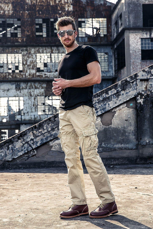 Mens Cargo Pants 100/% Cotton Regular Fit Casual Pants Trousers