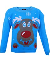 Boys Girls Kids Winter Christmas Xmas Jumpers Sweaters - Rudolf Red Nose Reindeer Olaf Snowman Santa Ho Ho - Ages 3-13