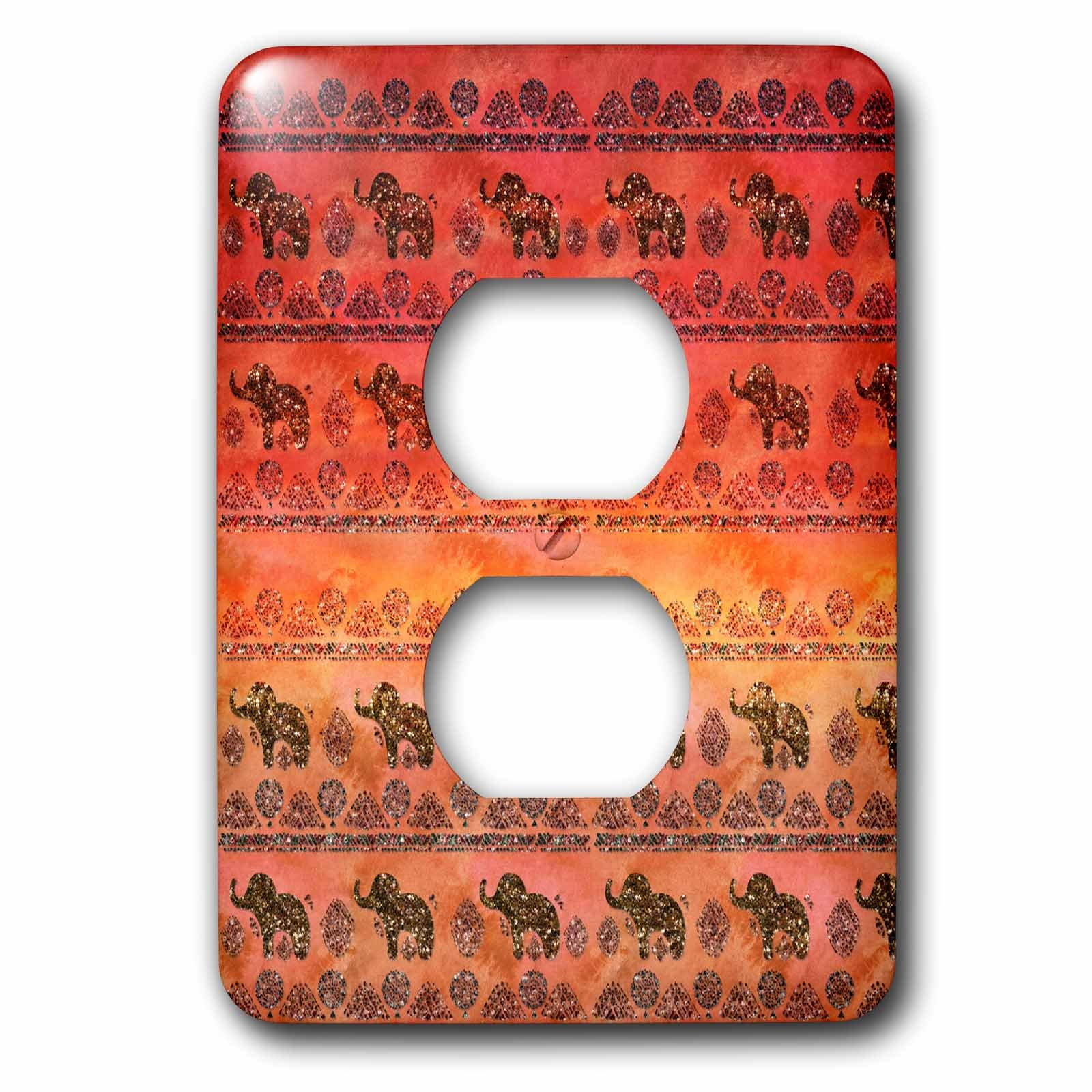 3dRose Uta Naumann Faux Glitter Pattern - Luxury Shiny Chic Animal Elephant Africa Safari Pattern on Faux Metal - Light Switch Covers - 2 plug outlet cover (lsp_269041_6)