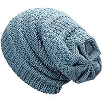 Dafunna Gorro de Invierno Unisex Crochet Gorro de Punto Elástico de Lana Tejer Beaniecasquillos Calientes para Hombre Mujer