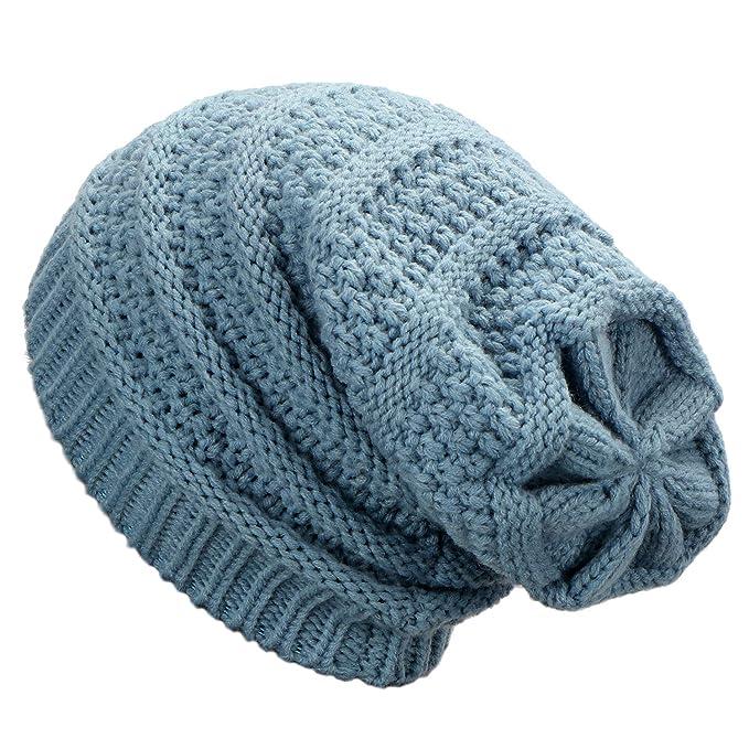 Dafunna Gorro de Invierno Unisex Crochet Gorro de Punto Elástico de Lana  Tejer Beaniecasquillos Calientes para bd58a898ffd