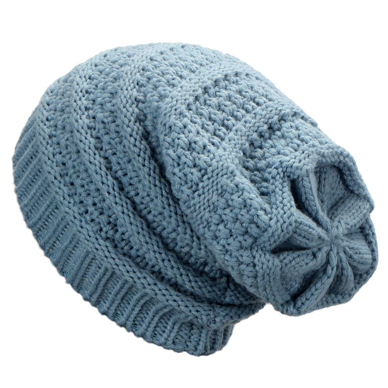 82c2465e39 Dafunna Bonnet de Hiver Unisexe Tricoté Slouch Bonnet Baggy Chaud Beanie  Chapeau de Crâne pour Femme