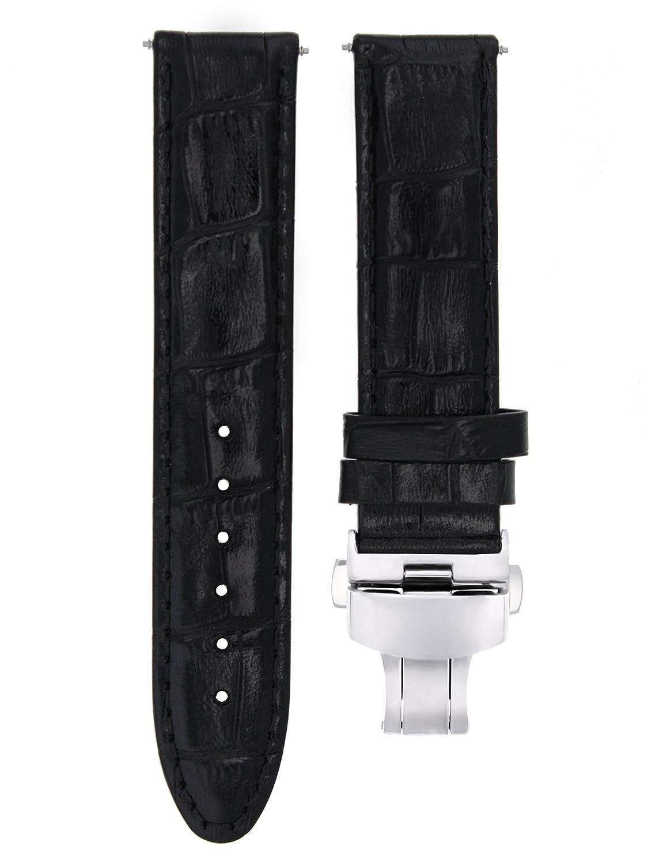 22 mmレザー時計ストラップバンドClasp for Omega Seamaster Planet Oceanブラック# 7  B07D6PJ591