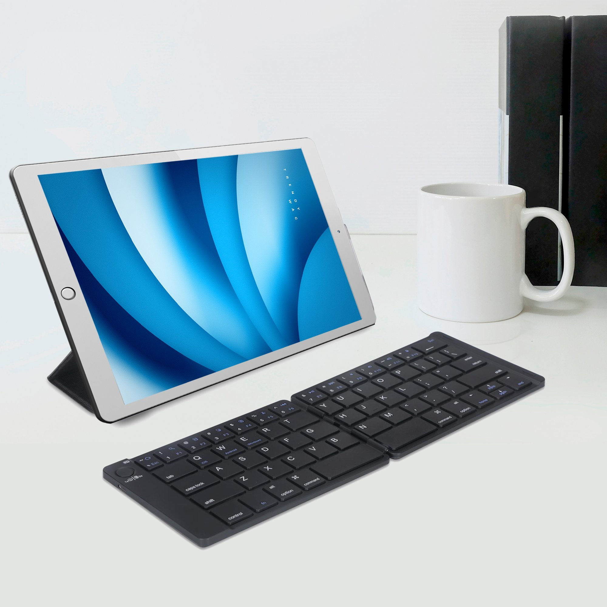 Foldable Bluetooth Keyboard Trendy Wag Portable Wireless Folding Rechargeable Pocket Size Full Size Ultra Slim for Windows Mac OS Android iOS PC iPad Samsung Tablet Smartphones by Trendy Wag (Image #6)