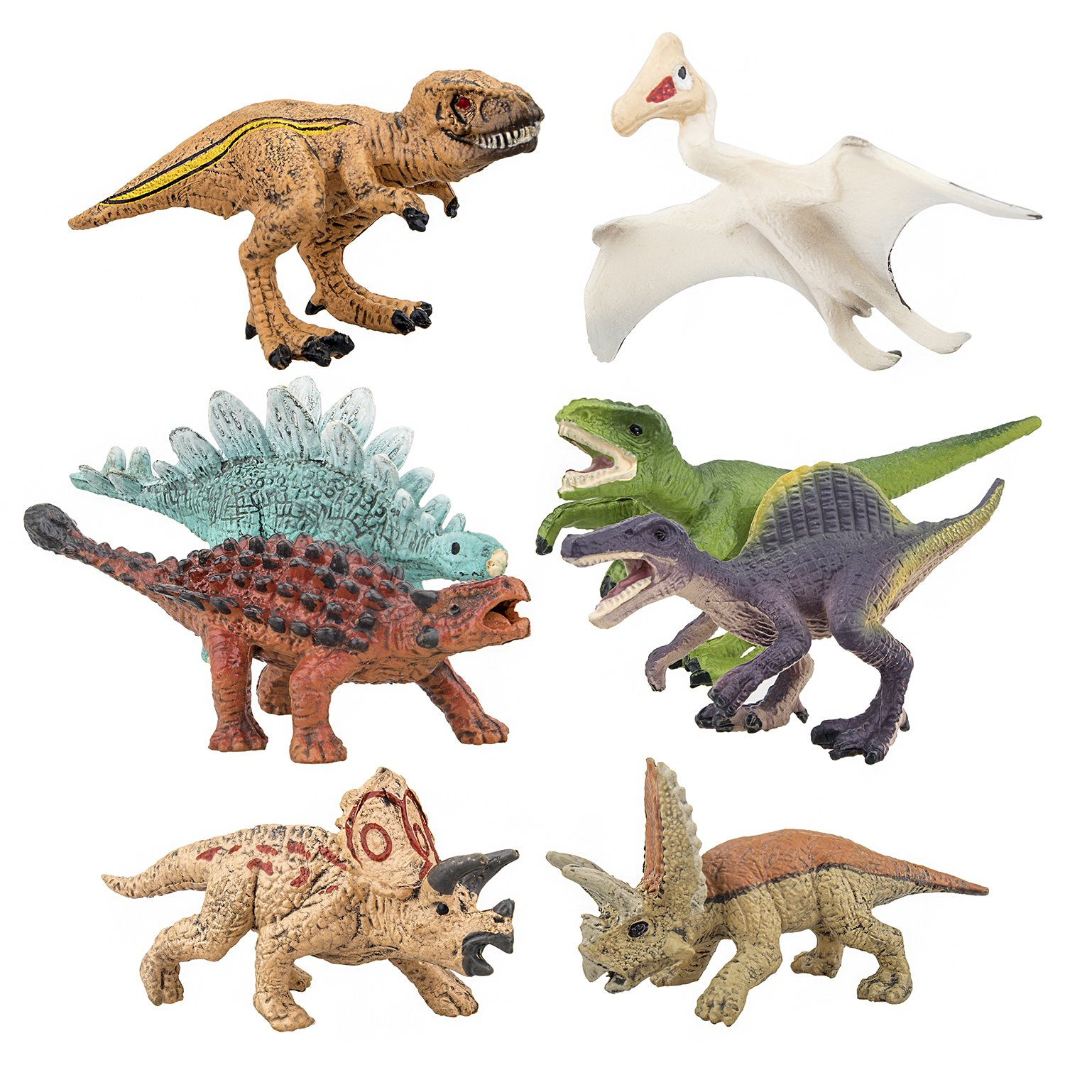 Toymany 8PCS Realistic Mini Dinosaurs Figures, Detailed Textures Dino Figurines Cake Topper Toy Set, Birthday Gift for Kids Children Toddler