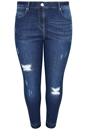 00ed9978f04471 Women's Plus Size Indigo Rip & Repair Skinny Ava Jeans with Raw Cuffs Plus  Size Size