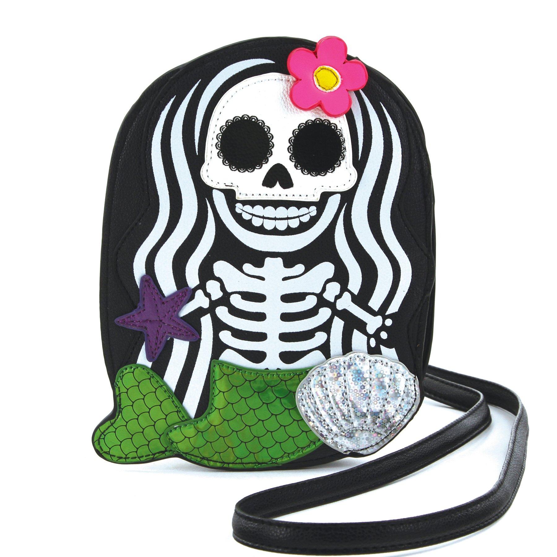 Sleepyville Critters - Skeleton Mermaid Cross Body Bag in Vinyl Material
