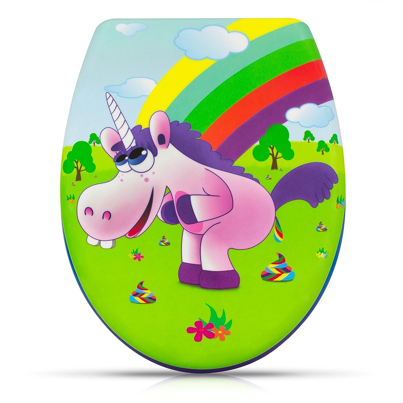 Abattant de WC avec fermeture amortie - Modè le 'Drunky Unicorn' - Couvercle de toilette avec motif et kit de montage Grinscard