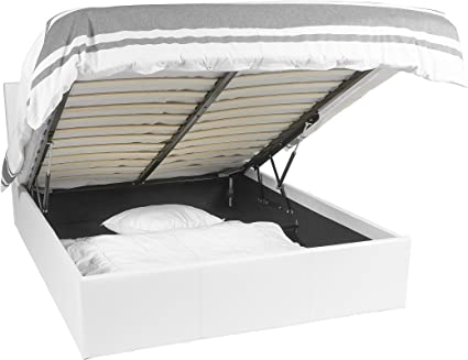 EuropeDirectShopping Luna Ottoman | Cama con almacenaje | somier 180x200 | Blanco | Cama con cajones | 900 Liter Espacio de Almacenamiento | ...
