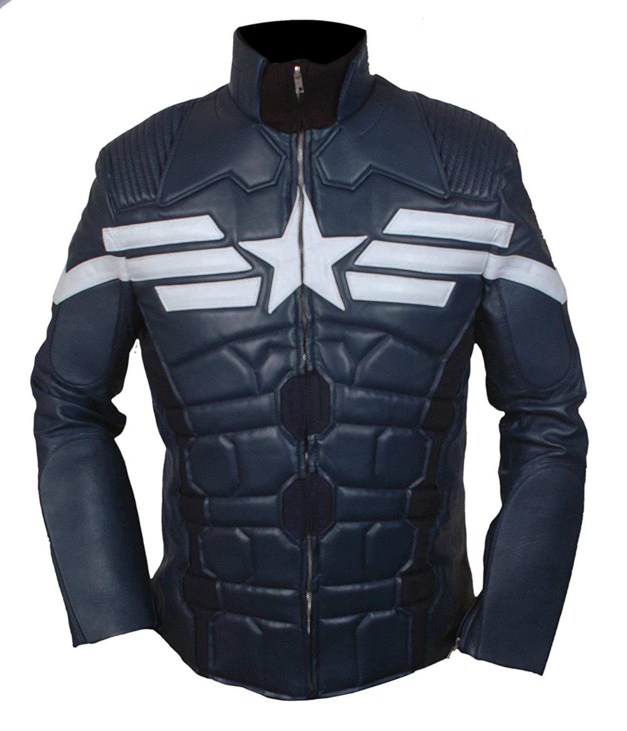 Men's Captain America Winter Soldier Synthetic Leather Jacket - DeluxeAdultCostumes.com