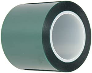 """Maxi 248 Polyester/Silicone Single Coated Splicing Tape, 3.3 mil Thick, 72 yds Length, 4"""" Width, Green"""