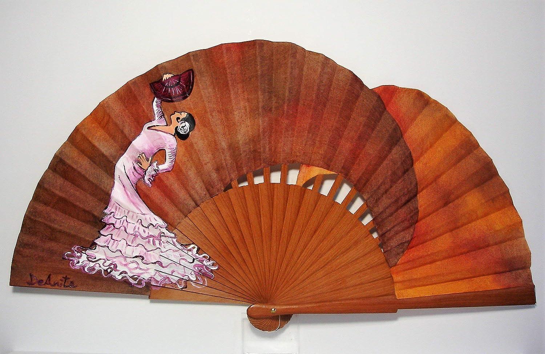 Abanico español/Abanico pintado a mano/Abanico flamenco/Abanico de madera/ Abanicos Sevilla