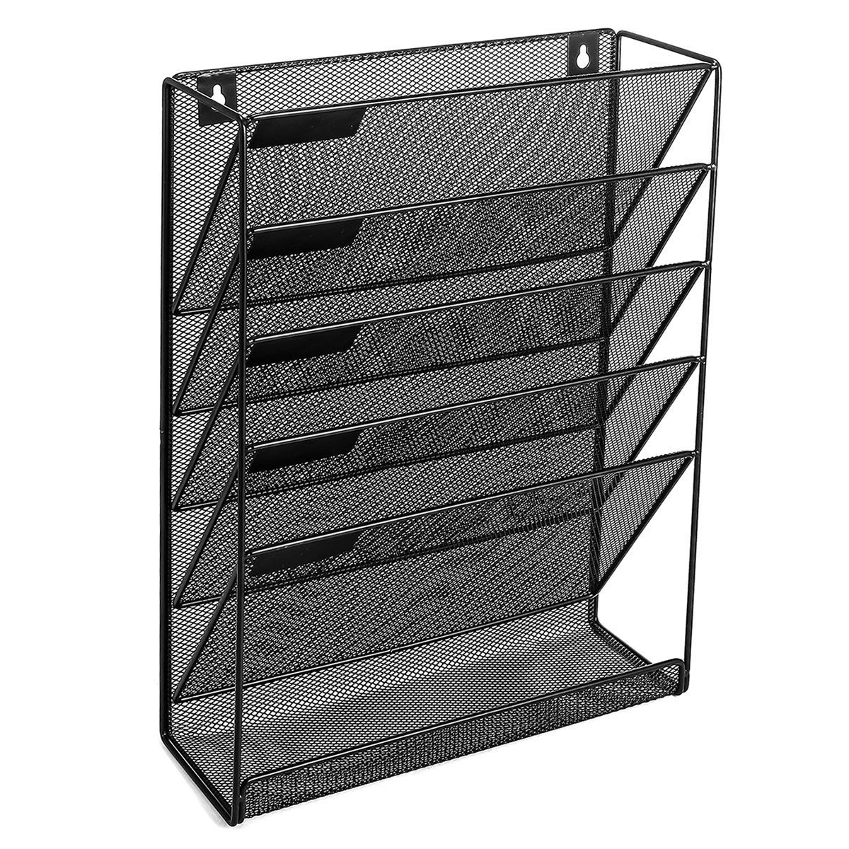 Wall File Organizer; 5 Tier Black Mesh Metal Wall Shelf/Organizer; Includes 6 x Shelf Label Stickers & Wall Screws/Anchors!; Ideal for Home or Office