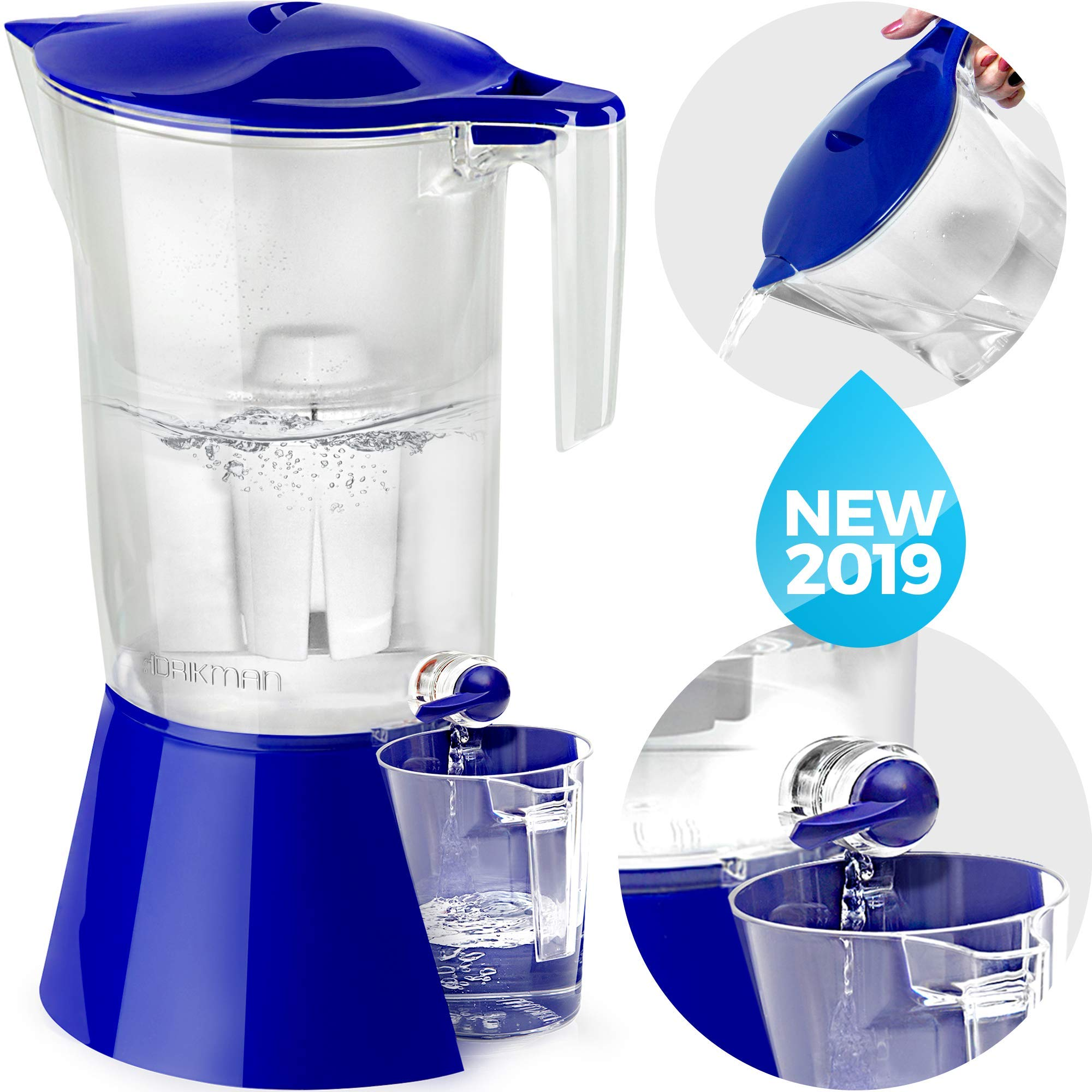 bf7c842c2 DRIKMAN Universal Water Filter Pitcher - New Model Water Purifier Pitchers  with Stand - Filtered Water