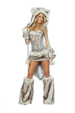 Schön J. Valentine Womenu0027s Big Bad Wolf Costume, Grey/Silver, Small