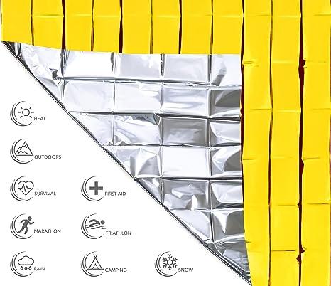 URBAN MEDICAL Premium techo salvavidas extra grandes Pantalla salvavidas para primeros auxilios | 1 y 10 unidades, Oro/Plata, 210 x 160 cm | Protección ...