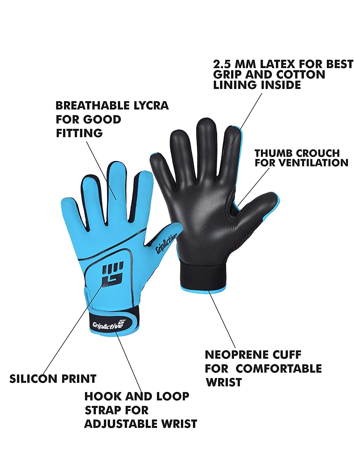 GAA Football SKY BLUE and BLACK Grip Active Gaelic Gloves with Premium Qaulity Latex