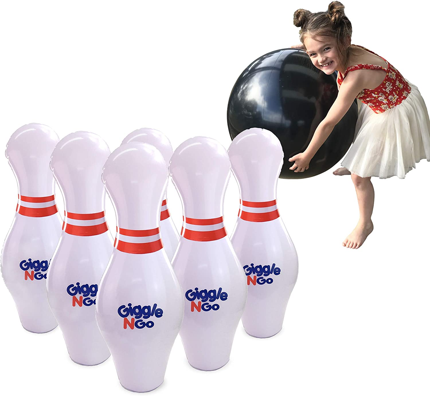 GIGGLE N GO Kids Inflatable Bowling Games - Fun Giant Yard Games for Adults and Family. Fantastic for Indoor or Outdoor Games. Our Kids Bowling Set Inc 6, 70cm Bowling Pins, 1, 60cm Ball and 1 Pump