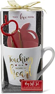 Teacher Appreciation Gift Sets: Thank You Gift Bundles with Coffee or Tea Novelty Mugs, Printed Tote Bags, Apple Sticky Notes, Writing Pads, Apple Shaped Pens, Jumbo Gold Paper Clip (Heart Mug Set)