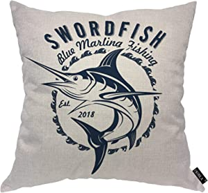 EKOBLA Blue Marlin Fishing Throw Pillow Cover Swordfish Jumping Marine Wildlife Seafood Atlantic Cozy Square Cushion Case for Men Women Boys Girls Room Home Decor Cotton Linen 18x18 Inch