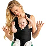 Baby Wrap Carrier Hands Free - Breathable Soft and Stretchy Baby Sling Carrier, Ergonomic, Safe & Secure for Newborns, Babies & Infants, No Back Pain, Good for Breastfeeding - Baby Shower Gift (Black)