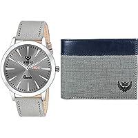 LORENZ Silver Dial Men's Watch & Grey Wallet Gift Box Combo for Men | Combo for Boys | CM-2045WL-15