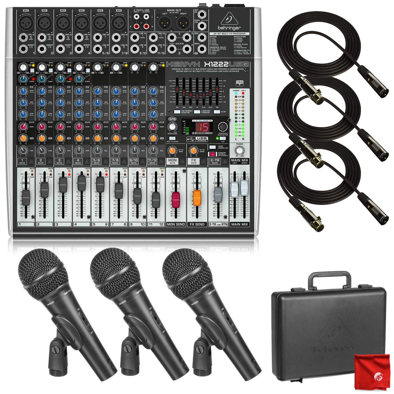 Behringer Xenyx X1222USB Premium 16-Input 2/2-Bus Mixer with USB/Audio Interface with Behringer Ultravoice XM1800S Dynamic Cardioid Vocal and Instrument Microphones and 3X Pro 10' XLR Cables