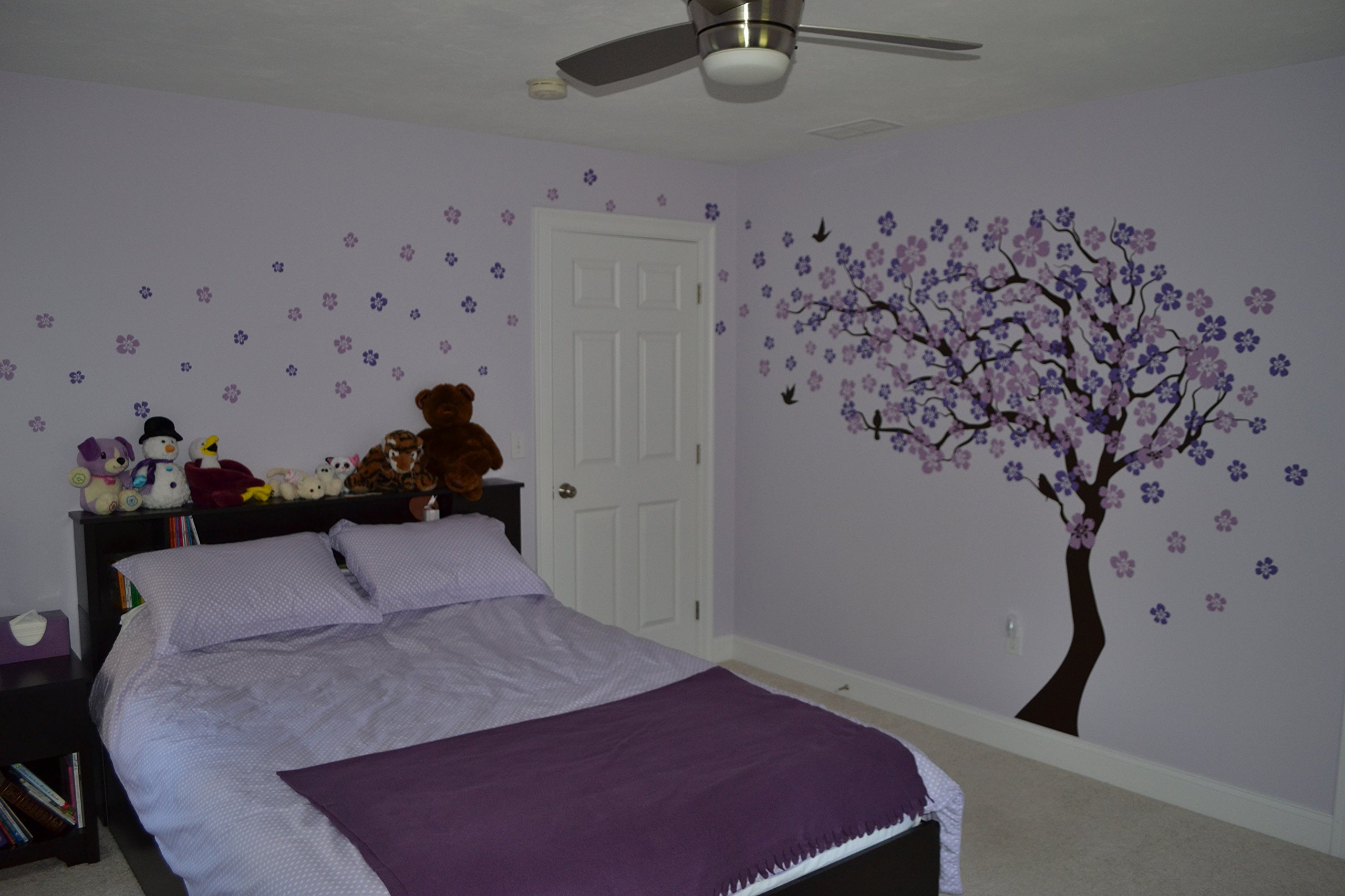 Pop Decors ''Dark Brown/Lavender/Lilac Go Left Cherry Blossom Tree'' Beautiful Wall Stickers for Kids Rooms by Pop Decors